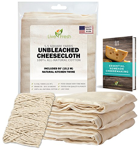 LiveFresh Unbleached Cheesecloth with 50' All-Natural Unbleached Cooking Twine and Cheesemaking Guide eBook - Grade 50, 5.5 Yards (49.5sq feet) - Washable and Reusable Strainer