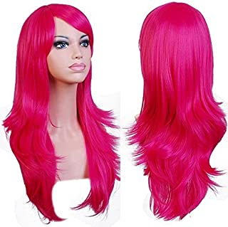 Anogol Hair Cap+ Long Cosplay Wig Pink Wavy Party Wigs