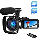 4K Camcorder Video Camera Ultra HD WiFi Camcorders with Microphone Digital Camcorder Full