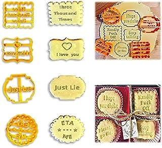 8 قطع من قطع البسكويت - قوالب بسكويت DIY مع أمنيات جيدة وعبارات غير قابلة للحرف والأشكال - ملحقات أدوات خبز الكعك - قواطع ...