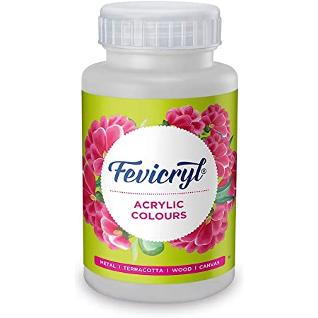 Pidilite Fevicryl Acrylic Colour, White Acrylic Paint, 500 ml, Art and Craft Paint, DIY Paint, Rich Pigment, Non-Craking Paint for Canvas, Wood, Leather, Earthenware, Metal