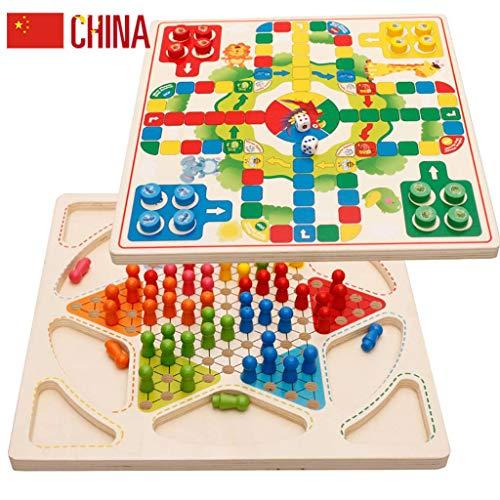 JINLIU Dama Cinese E Scacchi Volanti (2 in 1) Gioco da Tavolo in Legno, 29,4 X 29,4 X 1,4 Cm per Giochi All'aperto da Viaggio per Famiglie