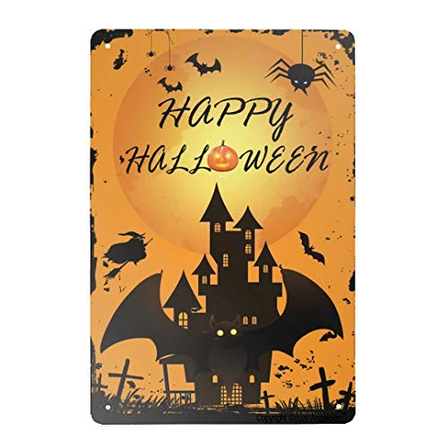 Angeloken Retro Metal Tin Sign Vintage Happy Halloween Castle Welcome Bats Ghost Witch Aluminum Sign for Home Coffee Wall Decor 8x12 Inch