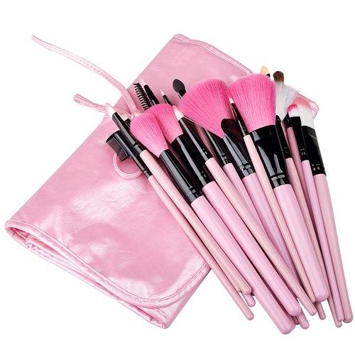 24pcs Pinceaux Applicateurs avec Trousse de Maquillage Pro Make Up Fond Teint, Rose