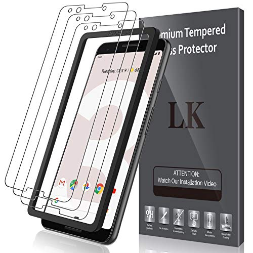 [3 Pack] LK Screen Protector for Google Pixel 3 Tempered Glass [Easy Installation Tray] HD Clear, Bubble Free, Anti Scratch