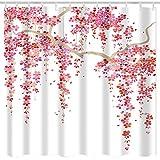 Duschvorhang für Badezimmer, rosa Blumenmuster, japanischer Kirschbaum, Blume, Polyester, asiatischer Stoff, mit 12 Haken, 183 x 183 cm