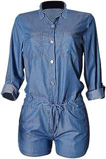 Montmo Women Sexy Half Sleeve Denim Jeans Jumpsuit Bodysuit Shorts Romper Playsuit (L Blue)