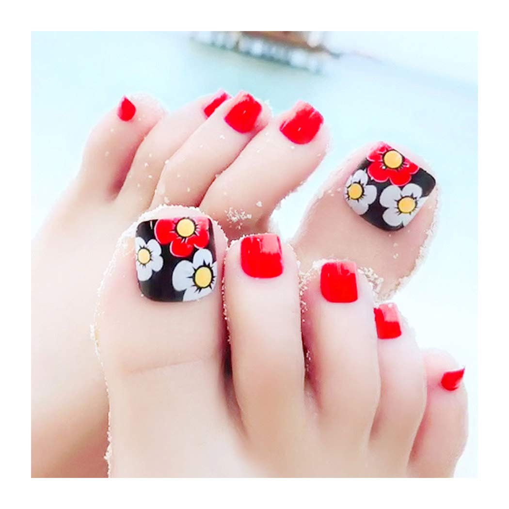 Yokawe Glossy Red service Fake Toenails Acrylic Full Beach Cover Summer Large special price !!
