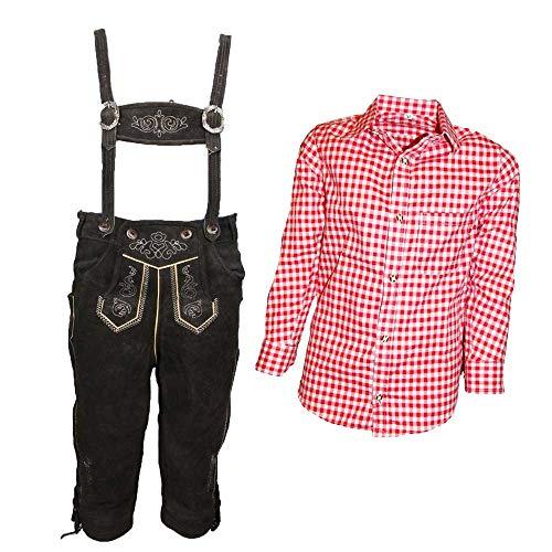 MS-Trachten Trachtenset Kinder Kniebund Lederhose Anton mit Hemd (Set rotkariert, 152)