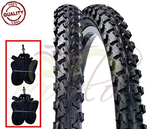 EBA24MAS 2 CAMERE d'Aria + 2 COPERTONI Nero Bici Bicicletta Nero (50-507) 24 x 1.90 MTB Mountain Bike