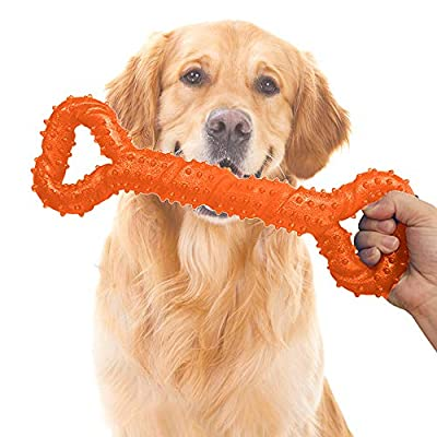 "Cyleibe Aggressive Chewers Dog Toys, Interactive Dog Chew Toys with Pull Band, 13"" Solid Bone Shape for Medium Large Dog - Orange"