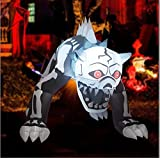 GOOSH 5Ft Halloween Inflatable Standing Skeleton Dog with Build-in LED Lights Blow Up Yard Decoration Clearance with LED Lights Built-in for Holiday/Party/Yard/Garden