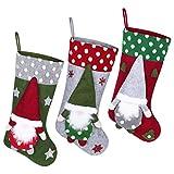 Toyvian - Calcetines de Navidad (3 unidades, 19) Medias colgantes de Navidad de 6 pulgadas con Gnom 3D para regalos, tratadas árbol de Navidad