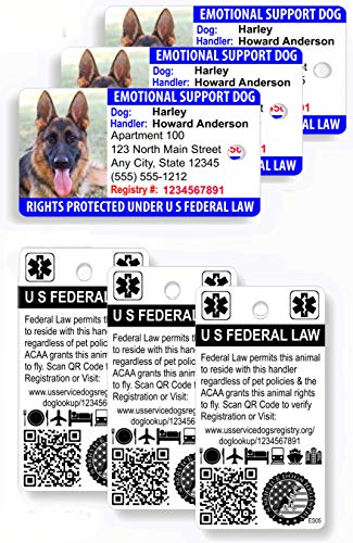 Just 4 Paws Custom Holographic QR Code Emotional Support Dog Key Tag ID Card (Set of 3), TSA Compliant   Includes Registration to U S Service Dogs Registry - Landscape Style