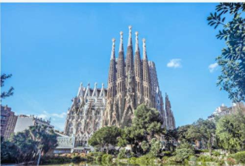 N/W Puzzle Jigsaw Rompecabezas 1000 Piezas - Barcelona Landmark, Spain Sagrada Familia - para Regalo Adulto