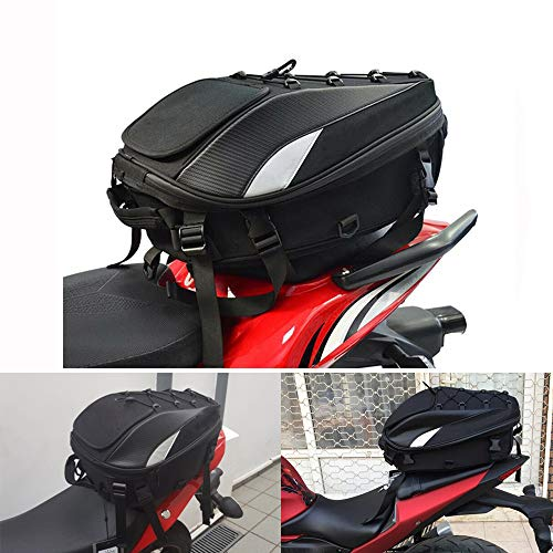 YSMOTO Motorcycle Tail Bags Waterproof - Motorcycle Rear Seat Bag - Motorcycle Bags For Back Seat - Dual Use Sport Motorcycle Backpack Helmet Bag