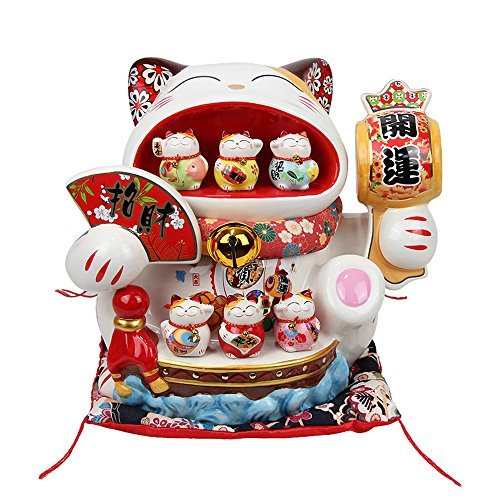 Large Size Ceramic Thriving Business Maneki Neko Lucky Cat(Beckoning Cat) Piggy Bank,Best Gift for Business Opening,Feng Shui Decor Attract Wealth and Good Luck