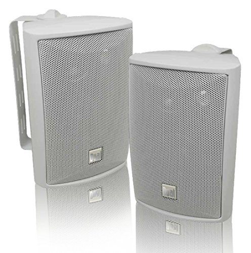 Dual Electronics LU43PW 3-Way High Performance Outdoor Indoor Speakers with Powerful Bass | Effortless Mounting Swivel Brackets | All Weather Resistance | Expansive Stereo Sound Coverage | Sold in Pairs,White