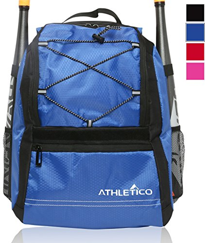 Athletico Youth Baseball Bag - Backpack for Baseball, T-Ball & Softball Equipment & Gear for Boys & Girls | Holds Bat, Helmet, Glove | Fence Hook (Blue)