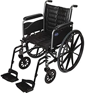 Invacare Tracer EX2 Wheelchair, with Full-Length Arms and T93HCP Hemi Footrests with Heel Loops, 20