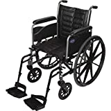Invacare Tracer EX2 Wheelchair, with Full-Length Arms and T93HCP Hemi Footrests with Heel Loops, 20' Seat Width