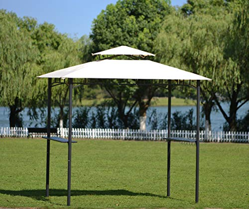 Patio Grill Gazebo Tented BBQ Canopy with Shelves and Metal Frame for Outdoor Activities, 2-Tier Hard Top Canopy Roof Barbecue Grill Gazebo Tent with Coffee Shelter for Lawn Backyard, Easy to Set Up