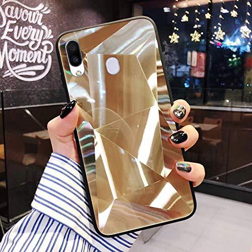 Uposao Kompatibel mit Samsung Galaxy M20 Hülle Spiegel Schutzhülle Bling Glänzend Glitzer Kristall Strass TPU Silikon Handyhülle Weiche Silikon Rückseite Glitzer Hülle Case Tasche,Gold