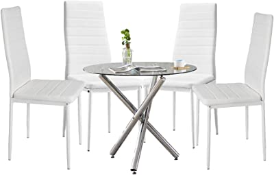 Amazon Com Ansley Hosho 5 Piece Dining Table Set Round Glass Dining Table With 4 Faux Leather High Back White Dining Chairs Dining Room Set For Kitchen Restaurant Small Space Round Table 4 Chairs
