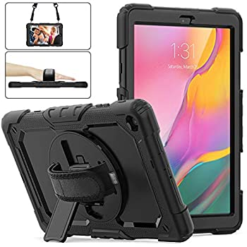 Samsung Galaxy Tab A 10.1 Case 2019 | Herize SM-T510/T515 Shockproof Rugged Protective Case Cover with Built-in Screen Protector 360 Stand,Hand Strap& Shoulder Strap for Galaxy Tab A 10.1 Inch-Black
