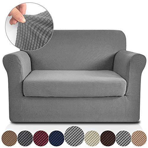 RHF Jacquard Stretch 2-Piece Sofa Cover, 2-Piece Slipcover for Leather Couch-Polyester Spandex Sofa Slipcover&Couch cover for dogs, 2-Piece sofa protector(Loveseat: Light Grey)