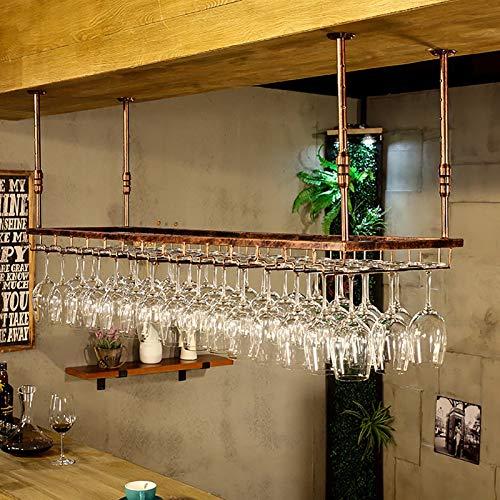 Estantes colgantes para copas de vino Tenedor de copa de vino de hierro rústico Estante de techo, altura ajustable, estante de cristal de vino colgante, estante de vidrio montado en la pared, estante