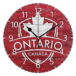 Franzibla Ontario Province Canada Maple Leaf Flag 9.5 Inch Battery Operated Decorative Wall Clock, Quartz Clock for Bedrooms, Living Room, Bathroom
