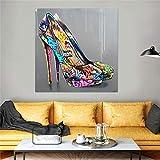 N / A Arte Callejero Abstracto Graffiti Tacones Altos Lienzo Pintura Arte de la Pared Zapatos Carteles e Impresiones para la Sala de Estar Decoración del hogar Sin marco-40x40cm
