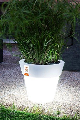Bio Pot rond de 60 x 55 cm blanc avec lumière auto-arrosage et roues St L 60 ne