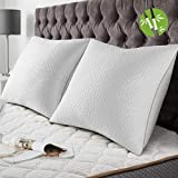 BedStory [Bamboo Fiber Bamboo Pillows 60x60 Set of 2 with Removable Anti-mite Pillows, Anti-Allergy Pillows with 10% 7D and 90% 3D Polyester Fiber, Hotel Quality Pillows