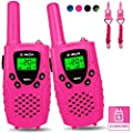 E-WOR Walkie Talkies for Kids Rechargeable, 4 Miles Range 22 Channels 2 Way Radios with Flashlight and LCD Screen, Best Kids Walkie Talkies for Boys and Girls, 2019 Toys for 3-12 Year Old Kids