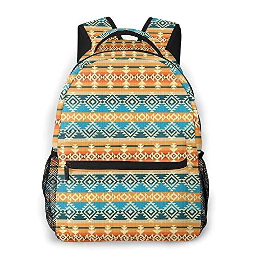 Mochila para portátil a rayas con motivos tribales geométricos, patrimonio cultural nativo mexicano, mochilas diarias de colegio, bolsa de libros livianas, bolsa de viaje casual para computadora