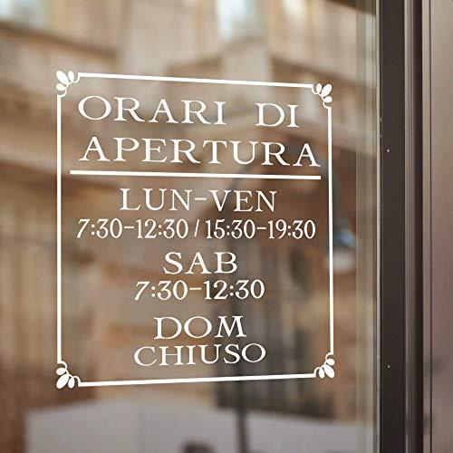 Decal Adesivo Orari di Apertura PERSONALIZZATI, Adesivi personalizzabili per vetrine negozi, Decalcomanie orario di lavoro per interni ed esterni