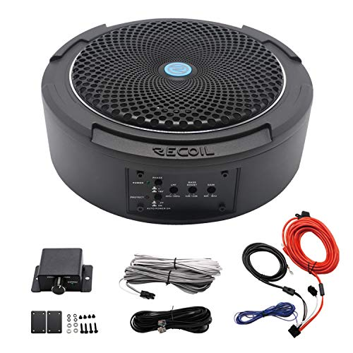 "Recoil SL1708 400 Watt 8"" Under-Seat Slim Amplified Car Subwoofer with Installation Wiring Kits"