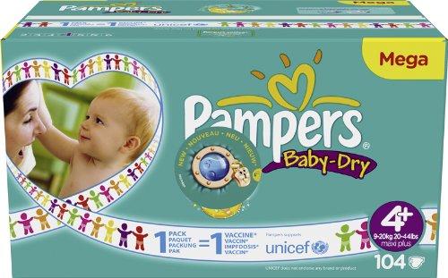Pampers Sofas Baby-Dry Größe 4maxi plus (9–20kg)–Megapack 1x 104Sofas