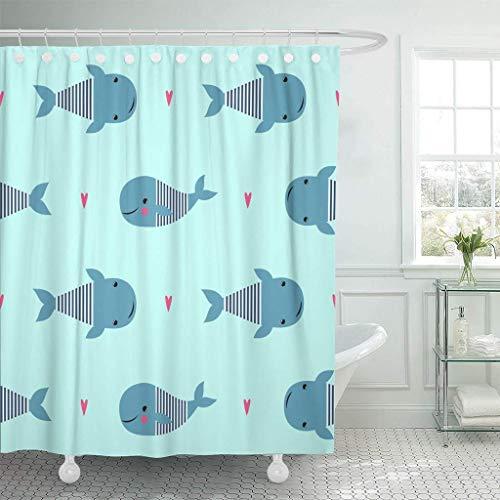 XZLWW Duschvorhänge Bad Vorhang Charakter mit Niedlichen Cartoon Wale auf Mint Green Sea Kind Zeichnung Stil Baby Tiere Bad 200x220 cm A