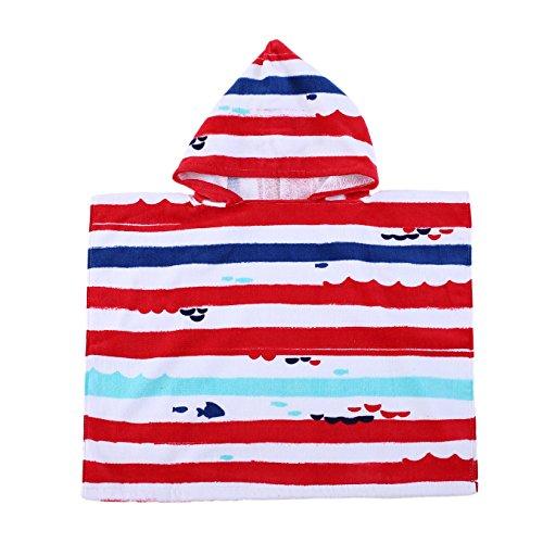 PERYOUN Stripe Kids Baby Hooded Bath/Beach/Pool Towel 100% Cotton