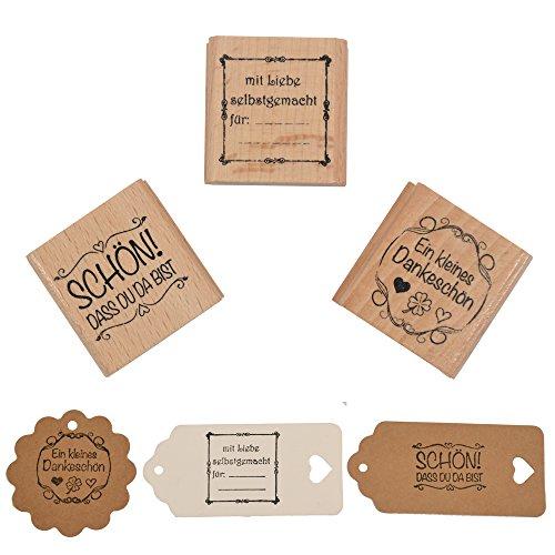 Okaytec Stempel 3er Set Schön!DASS du da bist, mit Liebe selbstgemacht für und EIN kleines Dankeschön, 4 cm, Holzstempel Hochzeit, Geschenkanhänger, Keksstempel Tischdeko