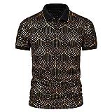 Camisa de verano para hombre, de Star Chain Bronzing Print, camisa polo de manga corta con solapas, corte ajustado, para tiempo libre F_negro. M