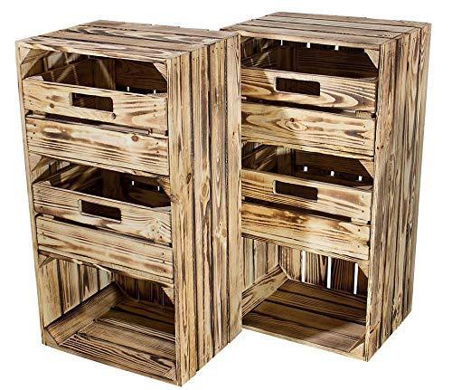 Kontorei® geflammter/brauner Hochschrank mit Schubladen 75cm x 40cm x 31cm 2er Set Regal Obstkiste Holzregal