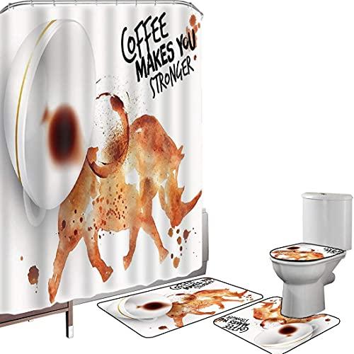 Duschvorhang Set Badezimmerzubehör Teppich Kaffee Kunst Badematte Contour Teppich Teppichbezug Wildes Nashorn-Tier vom verschütteten Heißgetränkefleck-Latte-Cappuccino dekorativ,gebrannte Sienna Black