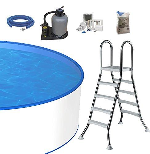 Pool-Set Ø 5m Tiefe 1,20m, 0,6mm Stahlmantel & 0,8mm Innenfolie mit Keilbiese, Sandfilteranlage SF133 mit 6-Wege-Ventil, Edelstahlleiter für Aufstellbecken und Skimmer