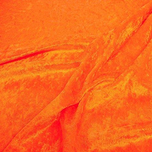 TOLKO Dekostoff - Pannesamt Meterware mit Stretch, Samtig Glänzender Vorhangstoff zum Nähen (NEON-Orange)