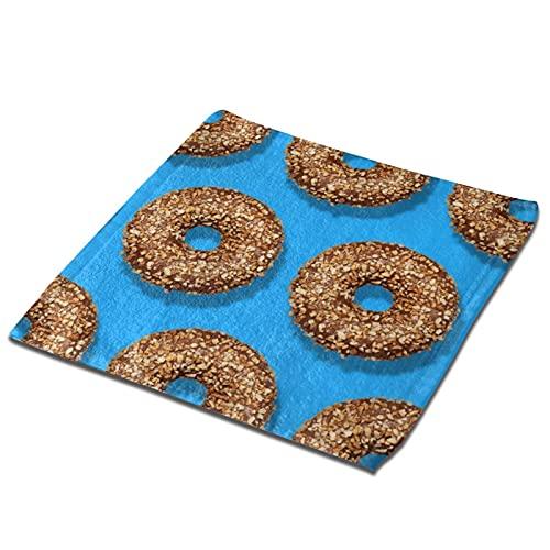 Patrón creativo donuts de chocolate con nueces Toalla cuadrada Paño de cocina Toalla absorbente Toalla de mano suave paños de secado rápido Toallas de plato