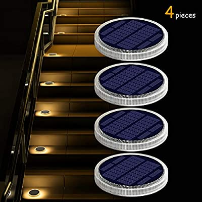 Solar Deck Lights Outdoor Waterproof, Garden Driveway Walkway Pathway Ground Step Dock Lights Solar Powered, LED Solar Lighting for Backyard Patio Lawn, auto ON/Off - Warm White - 4 Pack.